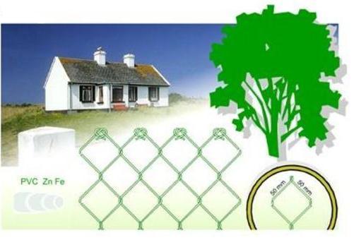 Punutud aiavõrk roheline PVC - kõrgus 2 m - rull 12,5 jm