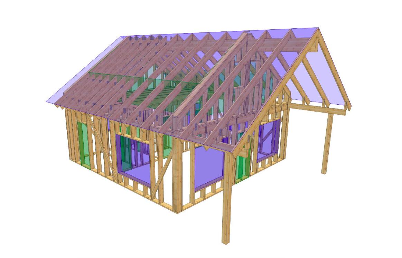 Abihoone puitkarkass 56 m2 + varikatus 20 m2