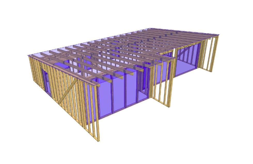 Maja puitkarkass 126 m2, väikese kaldeka katusega