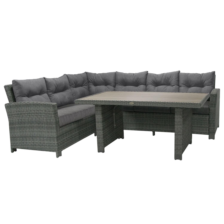 Komplekt PAVIA laud ja nurgadiivan, tumehall